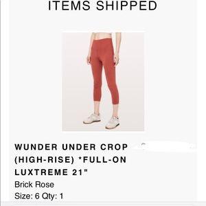 **New **Lululemon Wunder Under (Brick Rose)